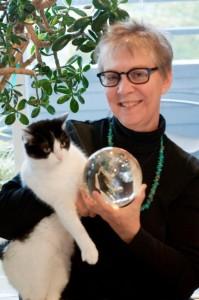 Robyn M Fritz, Fallon the Citrine Lemurian Quartz, and Grace the Cat